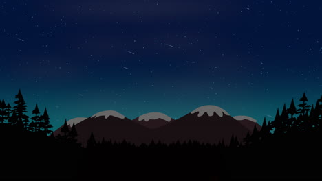 Cartoon-animation-background-with-forest-and-mountain-with-stars-sky-abstract-backdrop