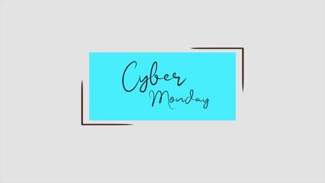 Texto-De-Introducción-De-Animación-Cyber-Monday-Sobre-Fondo-Blanco-De-Moda-Y-Minimalismo-Con-Forma-Azul-Geométrica