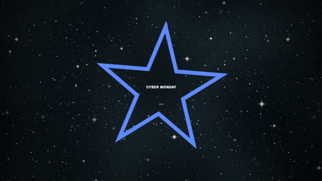 Animation-Intro-Text-Cyber-Monday-Auf-Mode--Und-Clubhintergrund-Mit-Leuchtendem-Blauem-Stern-In-Der-Galaxie