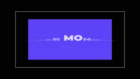 Animation-intro-text-Cyber-Monday-on-black-fashion-and-minimalism-background-with-geometric-blue-frame
