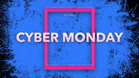 Animation-intro-text-Cyber-Monday-on-black-fashion-and-minimalism-background-with-blue-splash-spots