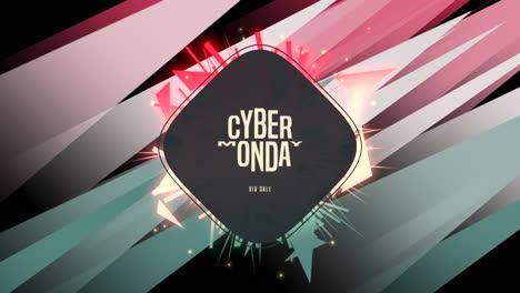 Animación-Texto-De-Introducción-Cyber-Monday-Sobre-Moda-Y-Fondo-De-Club-Con-Forma-Geométrica-Roja-Y-Verde-Brillante