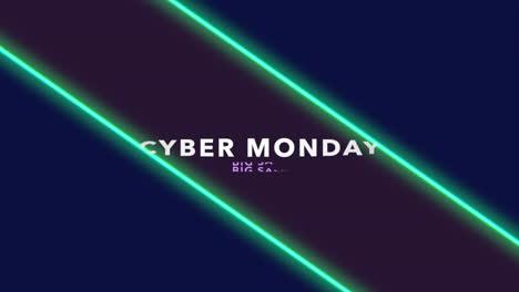 Texto-De-Introducción-De-Animación-Cyber-Monday-Sobre-Moda-Y-Fondo-De-Club-Con-Líneas-Verdes-Brillantes