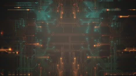 Cyberpunk-animation-background-with-computer-chip-lines-and-grid