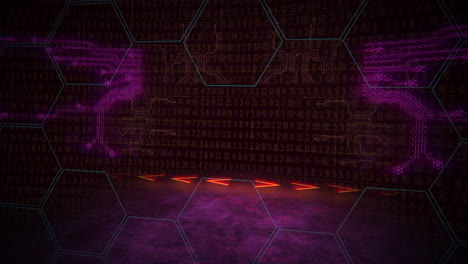 Cyberpunk-animation-background-with-computer-matrix-numbers-and-grid