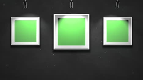 Motion-camera-in-art-gallery-with-picture-and-modern-frame-with-green-mockup-screen-art-background-1