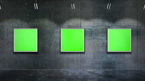 Motion-camera-in-art-gallery-with-picture-and-modern-frame-with-green-mockup-screen-art-background-2