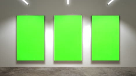Motion-camera-in-art-gallery-with-picture-and-modern-frame-with-green-mockup-screen-art-background