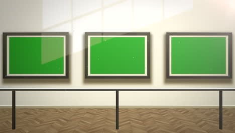 Motion-camera-in-art-gallery-with-picture-and-modern-frame-with-green-mockup-screen-art-background-3