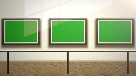 Cámara-De-Movimiento-En-La-Galería-De-Arte-Con-Imagen-Y-Marco-Moderno-Con-Fondo-De-Arte-De-Pantalla-De-Maqueta-Verde-3