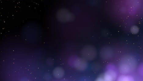 Motion-and-fly-purple-particles-and-round-bokeh-on-dark-background