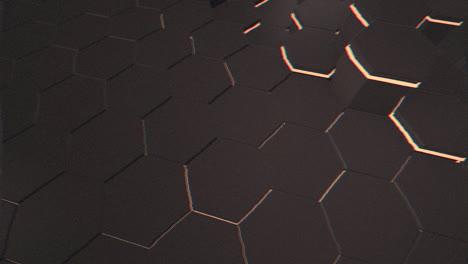 Motion-dark-black-and-orange-hex-grid-background-abstract-background