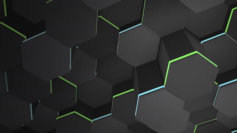 Motion-dark-black-and-blue-with-green-hex-grid-background-abstract-background