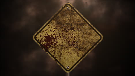 Mystical-horror-background-with-road-sign-and-dark-blood-abstract-backdrop
