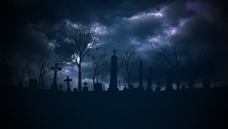 Mystical-halloween-background-with-dark-clouds-and-grave-on-cemetery-abstract-backdrop