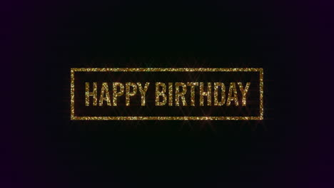 Animated-closeup-Happy-Birthday-text-with-gold-frame-on-holiday-background