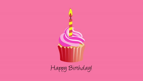 Animated-closeup-Happy-Birthday-text-with-candy-cake-on-holiday-background