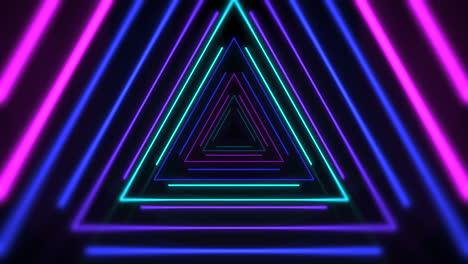 Movimiento-Colorido-Láser-Neón-Triángulos-Resumen-Antecedentes