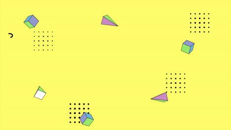 Movimiento-Formas-Geométricas-Abstractas-Triángulos-Y-Cubos-Fondo-Azul-De-Memphis