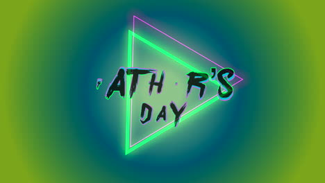 Animation-text-Fathers-day-on-fashion-and-club-background-with-glowing-green-triangle