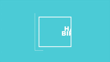Animation-intro-text-Happy-Birthday-on-blue-fashion-and-minimalism-background-with-geometric-frame-1
