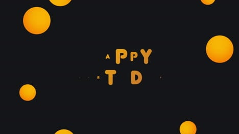 Animation-intro-text-Happy-Birthday-on-black-fashion-and-minimalism-background-with-geometric-bumbles