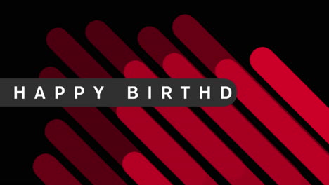 Animation-intro-text-Happy-Birthday-on-red-fashion-and-minimalism-background-with-geometric-stripes