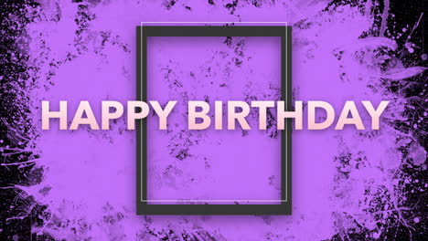 Animation-intro-text-Happy-Birthday-on-purple-fashion-and-minimalism-background-with-geometric-frame-1