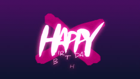 Animation-intro-text-Happy-Birthday-on-purple-fashion-and-minimalism-background-with-geometric-cross-1
