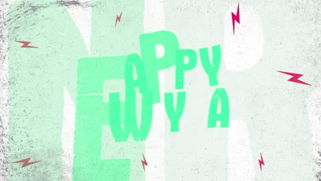 Animation-intro-text-Happy-New-Year-on-white-hipster-and-grunge-background-with-thunderbolts