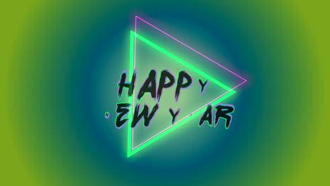 Texto-De-Introducción-De-Animación-Feliz-Año-Nuevo-En-El-Fondo-De-Moda-Y-Club-Con-Triángulo-Verde-Brillante