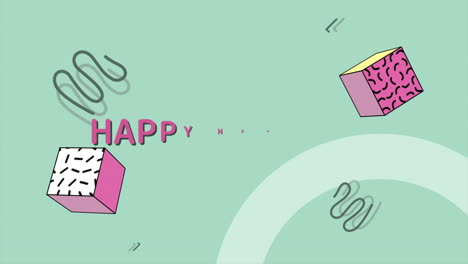 Animation-text-Happy-New-Year-and-motion-abstract-geometric-shapes-Memphis-background-2