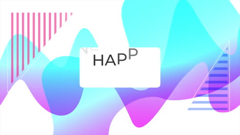 Animation-text-Happy-New-Year-and-motion-abstract-geometric-shapes-Memphis-background-6