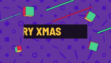 Animation-text-Merry-Xmas-and-motion-abstract-geometric-shapes-Memphis-background