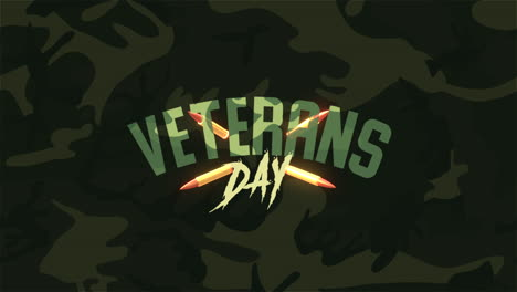 Animation-text-Veterans-Day-on-military-background-with-patrons