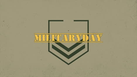 Animation-text-Military-Day-on-warfare-background-with-stamps-and-stars