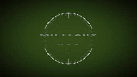Animation-text-Military-Day-on-military-background-with-aim