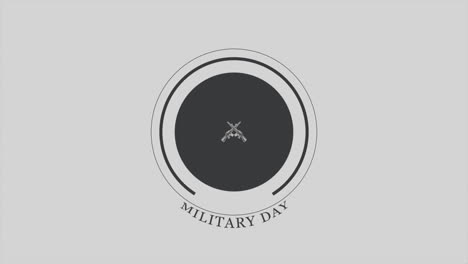 Animation-text-Military-Day-on-military-background-with-guns