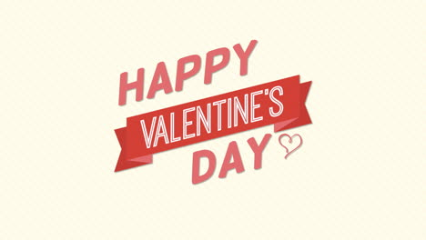 Animated-closeup-Happy-Valentines-Day-text-and-motion-heart-with-ribbon-on-Valentines-day-background