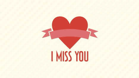 Animated-closeup-I-Miss-You-text-and-motion-romantic-red-heart-with-ribbon-on-Valentines-day-background