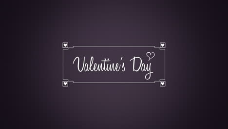 Animated-closeup-Happy-Valentines-Day-text-and-motion-heart-with-frame-on-Valentines-day-background