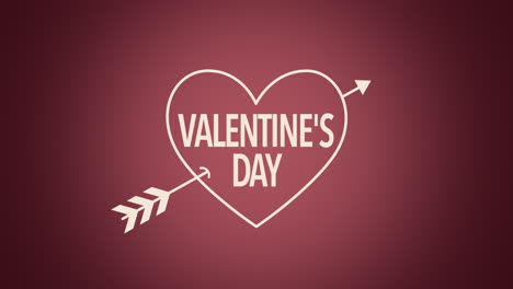 Animated-closeup-Valentines-Day-text-and-motion-heart-with-arrow-on-Valentines-day-background