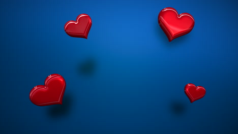 Animation-closeup-motion-small-romantic-hearts-on-blue-Valentines-day-shiny-background