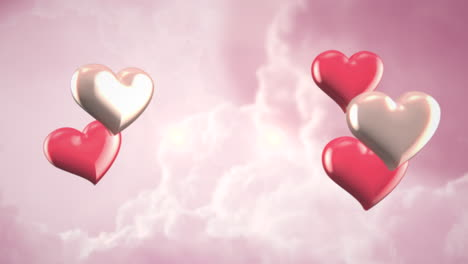 Animation-closeup-motion-small-romantic-hearts-on-pink-cloudy-Valentines-day-shiny-background