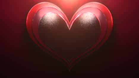 Closeup-motion-big-romantic-heart-on-red-Valentines-day-shiny-background