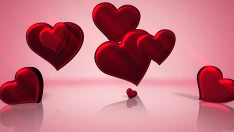 Animación-Primer-Plano-Movimiento-Pequeños-Corazones-Románticos-Sobre-Fondo-Rosa-Brillante-Día-De-San-Valentín