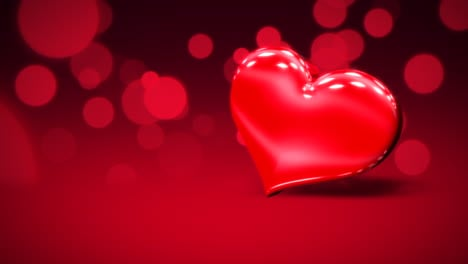 Animation-closeup-motion-big-romantic-heart-and-glitters-on-red-Valentines-day-shiny-background