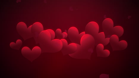 Animation-closeup-motion-small-romantic-hearts-and-abstract-lines-on-red-Valentines-day-shiny-background