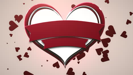 Closeup-motion-big-and-small-romantic-hearts-on-pink-Valentines-day-shiny-background