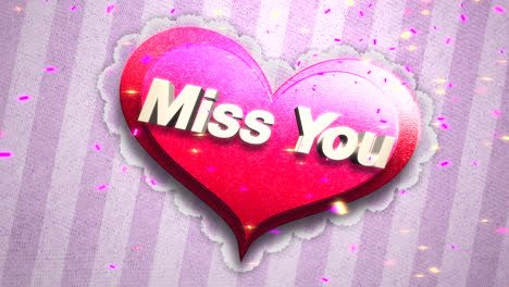 Animated-closeup-Miss-You-text-and-motion-romantic-big-pink-heart-on-Valentines-day-shiny-background